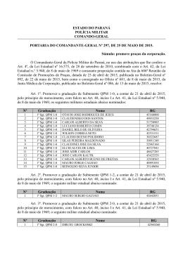 PROMOÇÕES NA PMPR. PORTARIA Nº 297- CG. Abril-2015.