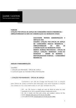 1 PARECER: CITAÇÃO POR OFICIAL DE JUSTIÇA EM