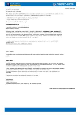 Documento emitido por conta e ordem da ASSIST-CARD