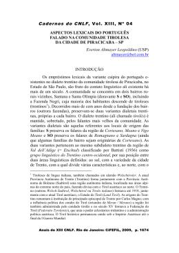 Aspectos lexicais do português falado na comunidade tirolesa da