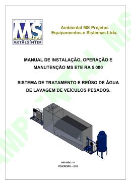 Ambiental MS Projetos Equipamentos e Sistemas Ltda. MANUAL