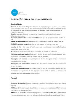 ORIENTAÇÕES PARA A EMPRESA / EMPRESÁRIO