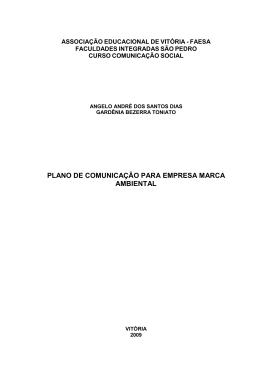 PLANO DE COMUNICAÇÃO PARA EMPRESA MARCA AMBIENTAL