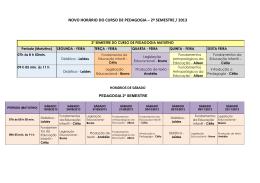 Horários Pedagogia 2013(Com Sábados)