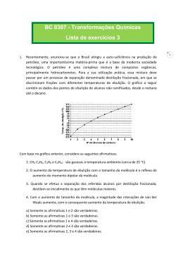 BC 0307 - Transformações Químicas Lista de exercícios 3