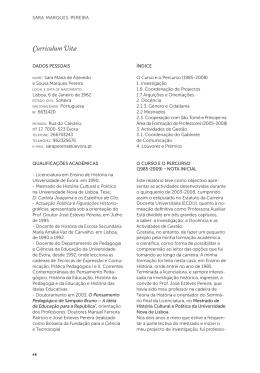 Sara Marques Pereira - Curriculum Vitae