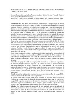 PROCESSO DE TRABALHO EM SAÚDE: UM RECORTE SOBRE A