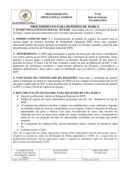 PROCEDIMENTO PARA DEPÓSITO DE MARCA