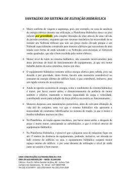 VANTAGENS DO SISTEMA DE ELEVAÇÃO HIDRÁULICA