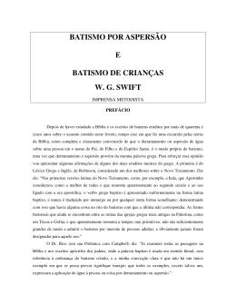 BATISMO POR ASPERSÃO E BATISMO DE CRIANÇAS W. G. SWIFT