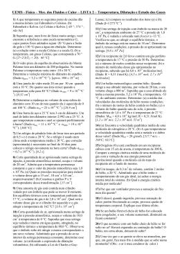 UEMS - Física – Mec. dos Fluidos e Calor – LISTA 2 – Temperatura
