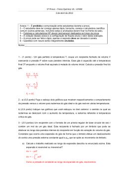 1ª Prova – Físico Química 1A