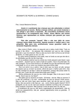 DESABAFO DE PEDRO - Centro Interativo