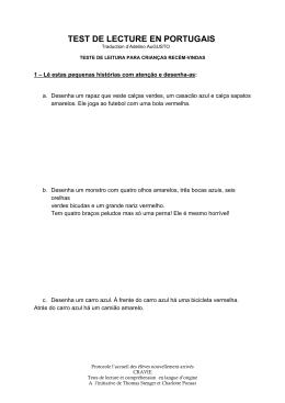 TEST DE LECTURE EN PORTUGAIS