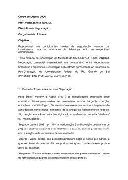 Negociação - DISASTER info DESASTRES