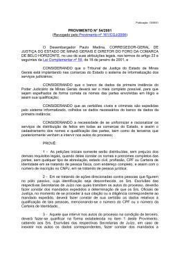 PROVIMENTO N° 54/2001 - Tribunal de Justiça de Minas Gerais
