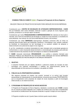 CHAMADA PÚBLICA BIOMINAS Nº 01/2007: Programa de