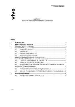 Anexo IV - Manual Técnico de Práticas e Procedimentos