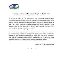 Declaración del Grupo de Río sobre los acontecimientos en