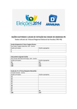 SEÇÕES ELEITORAIS E LOCAIS DE VOTAÇÃO