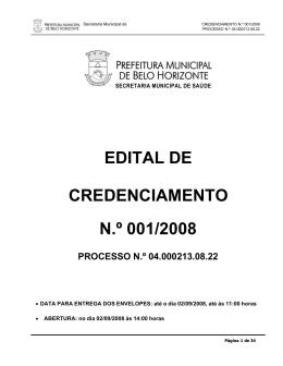 EDITAL DE CREDENCIAMENTO N.º 001/2008