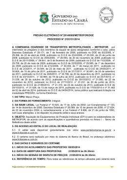pregão eletrônico nº 20140008/metrofor/dge processo n° 2193151