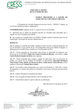 PORTARIA Nº 002/2013 DE 01 JANEIRO DE 2013 - cress-mg