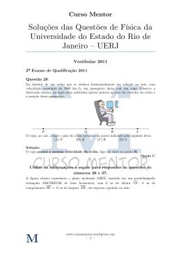 Soluções de Questões de Vestibular - Física - UERJ