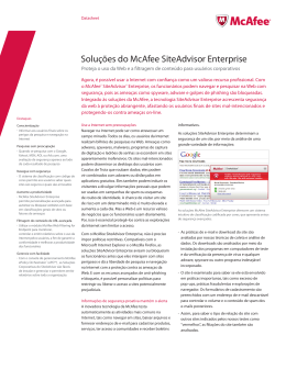Soluções do McAfee SiteAdvisor Enterprise