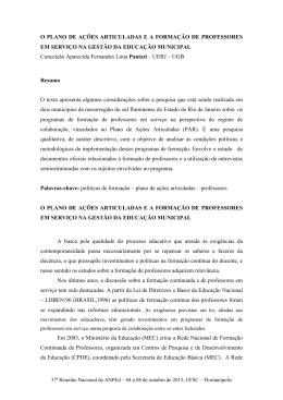 O PLANO DE AÇÕES ARTICULADAS E A FORMAÇÃO DE