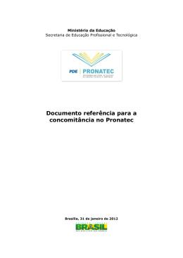 Documento referência para a concomitância no Pronatec