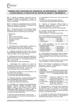 Normas para Concessão de Credencial de Responsável, Instrutor