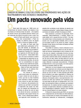 Um pacto renovado pela vida - Instituto Nacional de Câncer