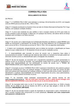 CORRIDA PELA VIDA - Prefeitura de Mogi das Cruzes