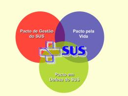 Pacto de Gestão do SUS Pacto pela Vida Pacto em Defesa do SUS