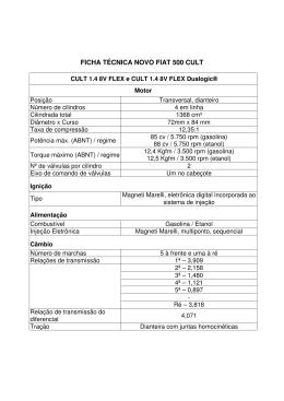 FICHA TÉCNICA NOVO FIAT 500 CULT