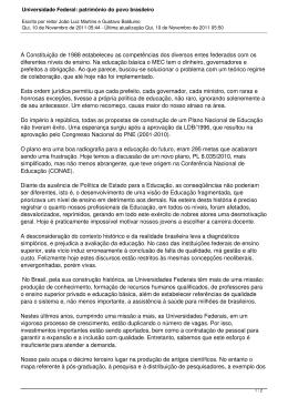 Universidade Federal: patrimônio do povo brasileiro