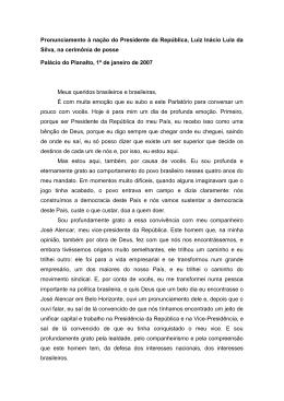 Pronunciamento à nação do Presidente da República, Luiz Inácio