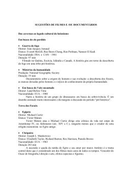 SUGESTÕES DE FILMES E /OU DOCUMENTÁRIOS Das cavernas