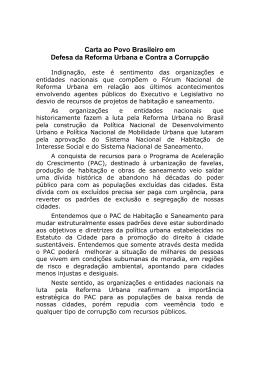 Carta ao Povo Brasileiro em Defesa da Reforma Urbana e