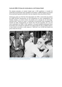 Carta do CERN: 50 Anos de Aceleradores e de Prémios Nobel Na