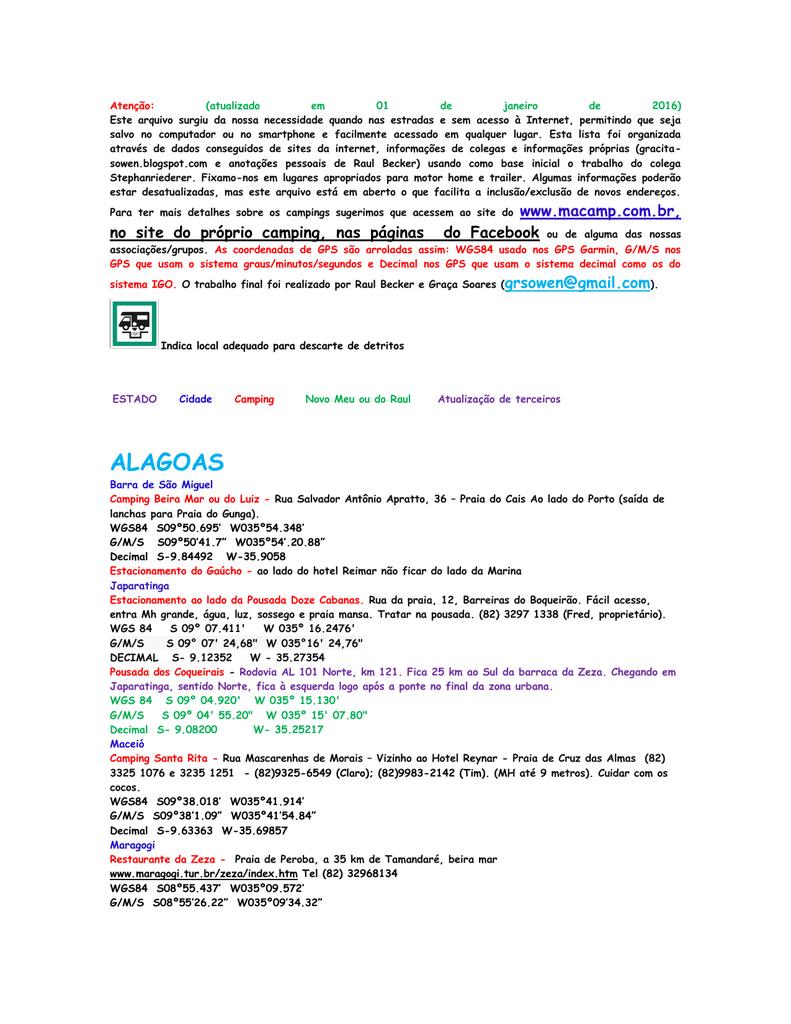 30dcde836 Compilação de Pontos de Apoio para RV