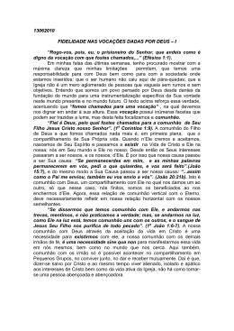 13062010 FIDELIDADE NAS VOCAÇÕES DADAS POR DEUS – I