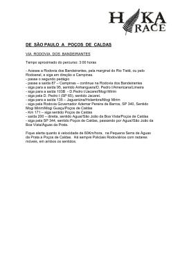 DE SÃO PAULO A POÇOS DE CALDAS