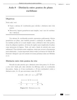 Aula 8 – Distância entre pontos do plano euclidiano
