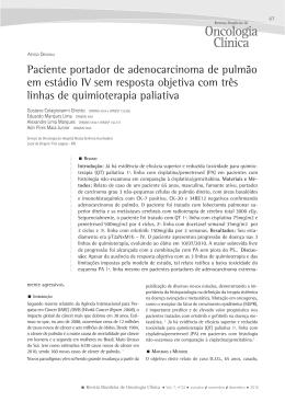 Paciente portador de adenocarcinoma de pulmão em estádio IV