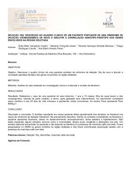 DELEÇÃO 18Q: DESCRIÇÃO DO QUADRO CLÍNICO DE UM