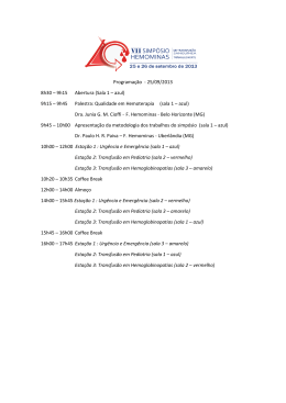 Programação - 25/09/2013 8h30 – 9h15 Abertura (Sala 1