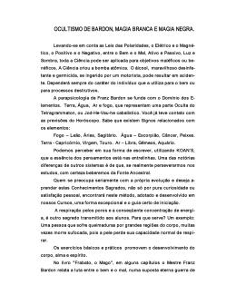 OCULTISMO DE BARDON, MAGIA BRANCA E