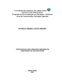 Programa de Pós-Graduação em Psicologia - Mestrado
